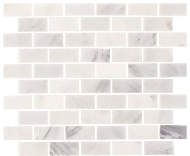 Aspen White Marble Minibrick Subway Tile, Sample
