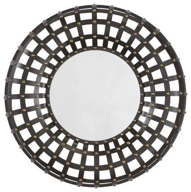 Ashley Ogier Accent Mirror, Brown And Gold Finish.