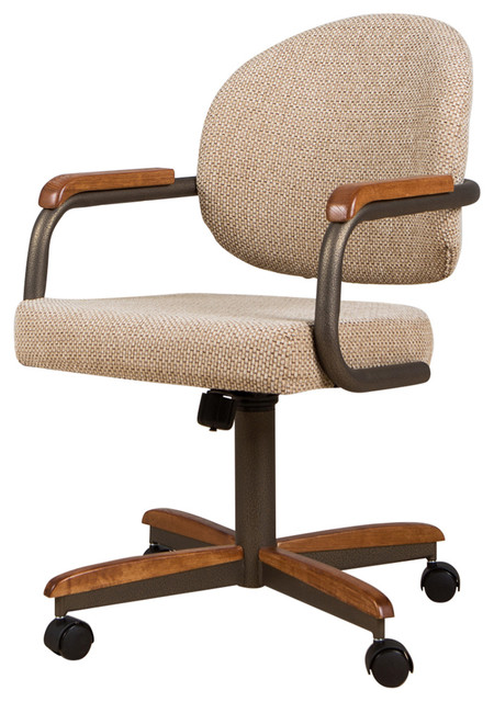 Swivel Dining Caster Chair Cream, Leather Dining Room Chairs With Casters