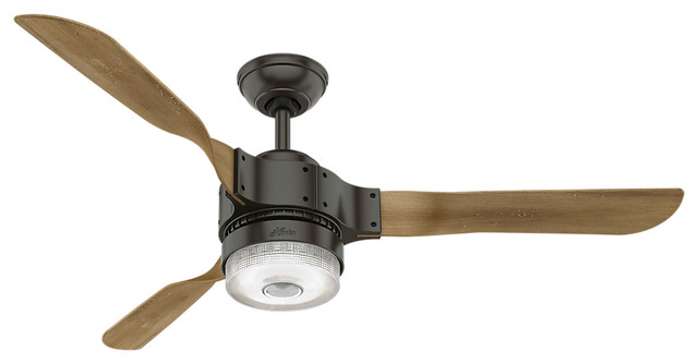 """Hunter Wifi 54"""" Apache Noble Bronze Ceiling Fan With Light And Remote."""
