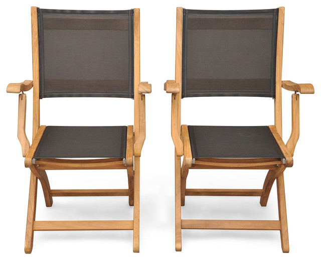 Teak Folding Chair teak folding providence chair with batyline black, set of 2