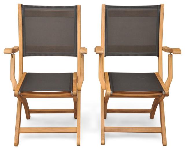Teak Folding Providence Chair With Batyline Black, Set Of 2.