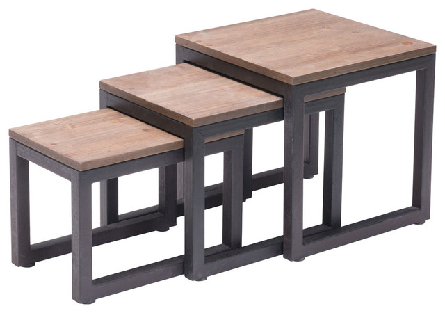 Civic Center Nesting Tables Distressed Natural Rustic Coffee Table Sets By Elitefixtures