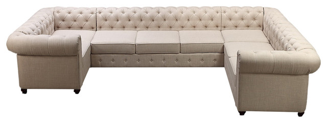 Garcia Beige High Rolled Arms U Sofa Sectional, Seats 8  Transitional Sectional