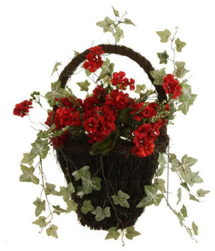 Shop Houzz Raz Red Geranium Wall Basket Decor