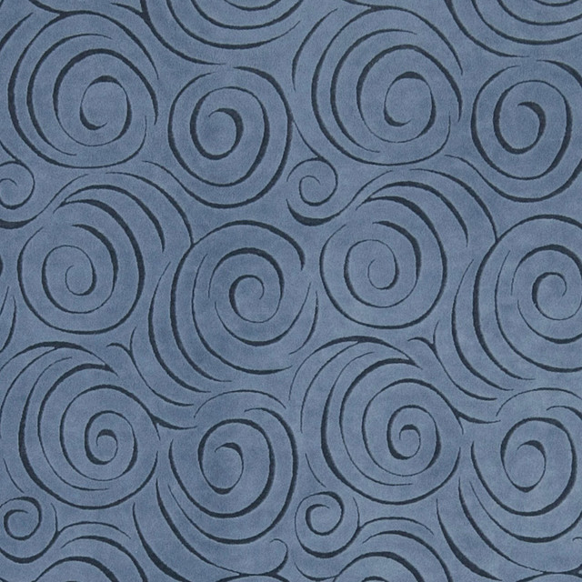 Blue Abstract Swirl Microfiber Upholstery Fabric By The Yard