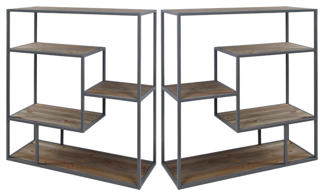 Bryan Keith Industrial Gray Hill Decorative Book Case, Grey, Natural, Set Of 2.