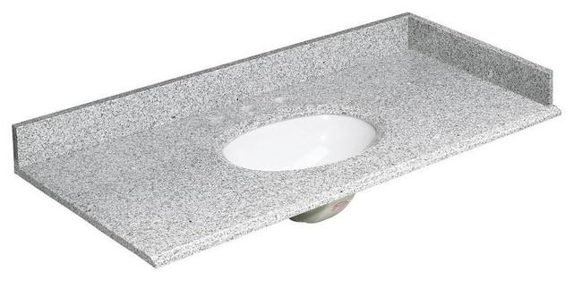 """Granite Vanity Top, Rushmore Gray And Basin, White With Backsplash, 49""""."""
