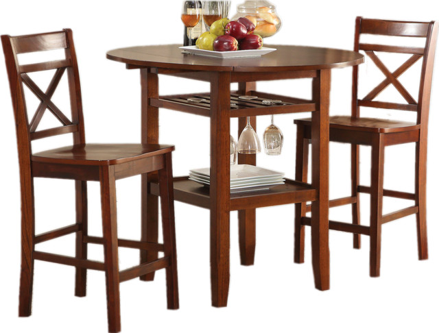 3PC Counter Height Dining Set 2 Drop Leaves Round Table  : contemporary indoor pub and bistro sets from www.houzz.com size 640 x 486 jpeg 80kB