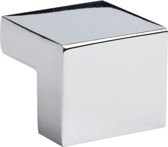 Atlas Homewares Small Square Knob 16mm CC, Polished Chrome modern-cabinet -and-