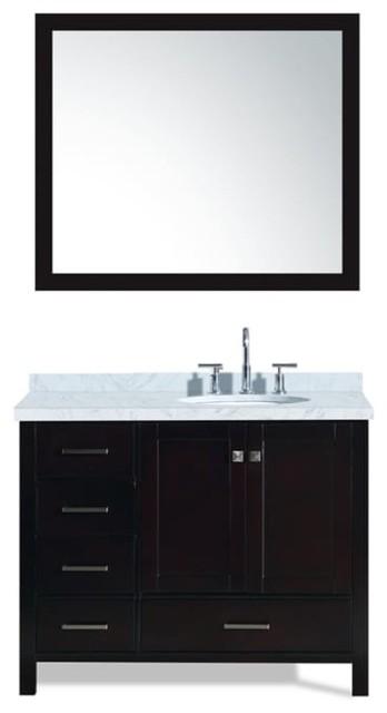 """Cambridge 43"""" Bath Vanity, Espresso With Marble Top, Carrara White Basin/mirror."""