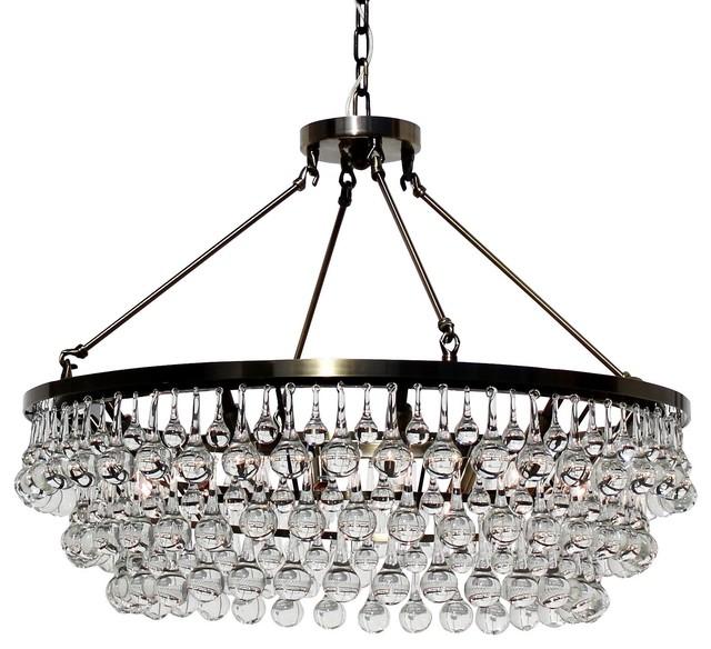 "Lightupmyhome Celeste 32"" Glass Drop Crystal Chandelier, Antique Brass"