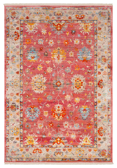 "Ephesians Updated Traditional Pale Pink, Rose Area Rug, 7&x27;10""x10&x27;3""."
