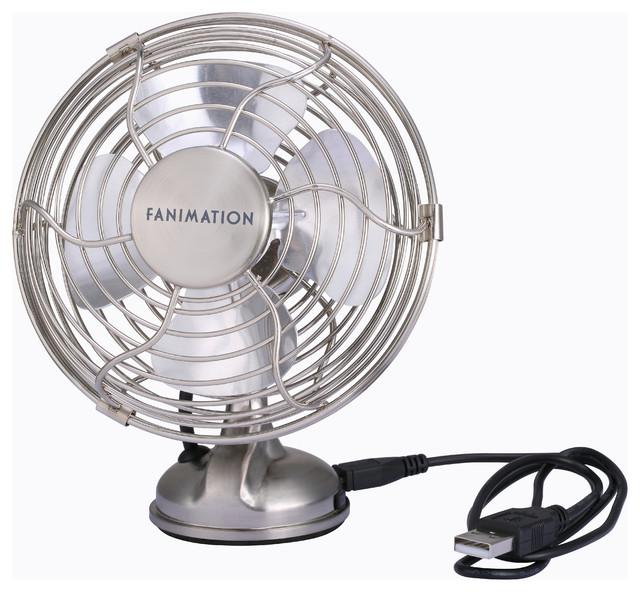 Mini Breeze Usb Fan, Brushed Nickel.