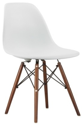 Poly And Bark Vortex Side Chair Walnut Legs, White.