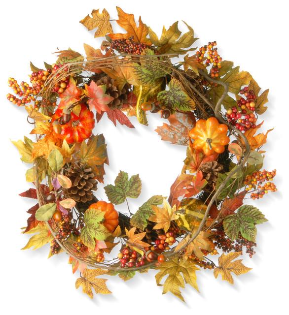 "Decorated Maple Leaf Wreath, 24""."