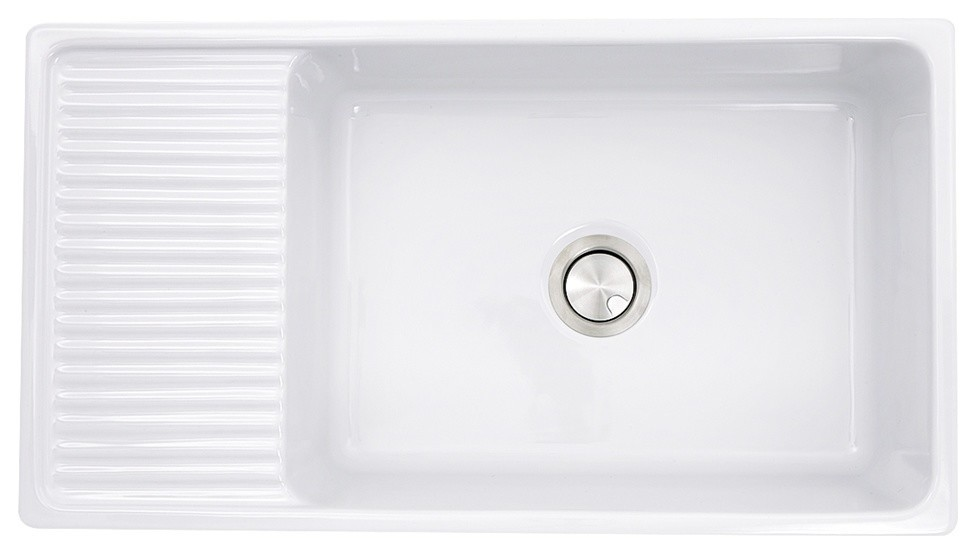 36 Italian Farmhouse Fireclay Sink With Built In Drainboard Contemporary Kitchen Sinks By Bisonoffice