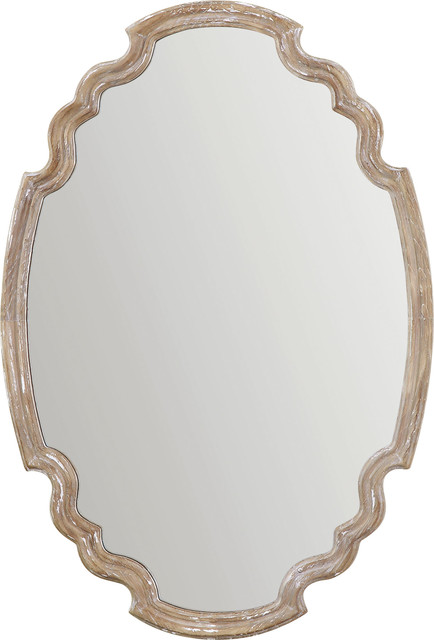 Gray Modern Oval Wall Mirror, Antiqued Silver Frame.