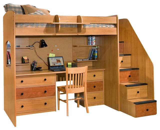 Berg Furniture Utica Lofts Dorm Twin Loft Bed With Storage Staircase Transitional Kids Beds