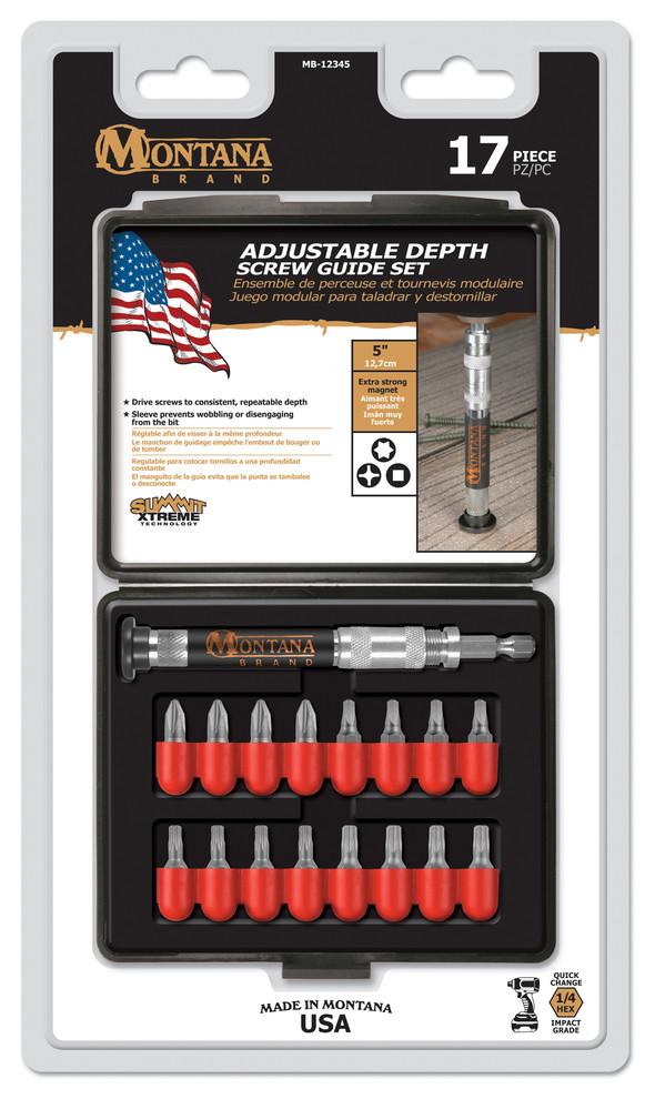 Montana Brand MB-64868 17 Piece Adjustable Depth Stop Screw Guide Set