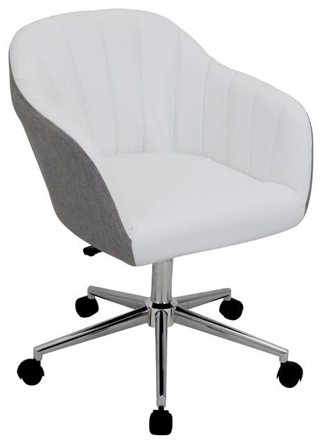 Ashton Swivel Office Chair, White And Gray.