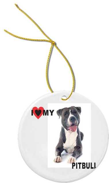 Pitbull Christmas Ornament.I Love My Black Pitbull Dog Round Porcelain Christmas Ornament