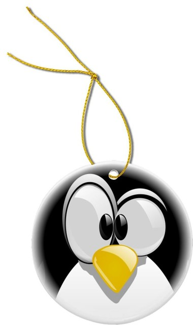Penguin Cartoon Face Design Round Porcelain Christmas Ornament