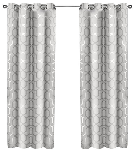 "Panza Grommet Top Curtains, Silver, Winter White, Set Of 2, 54""x84""."