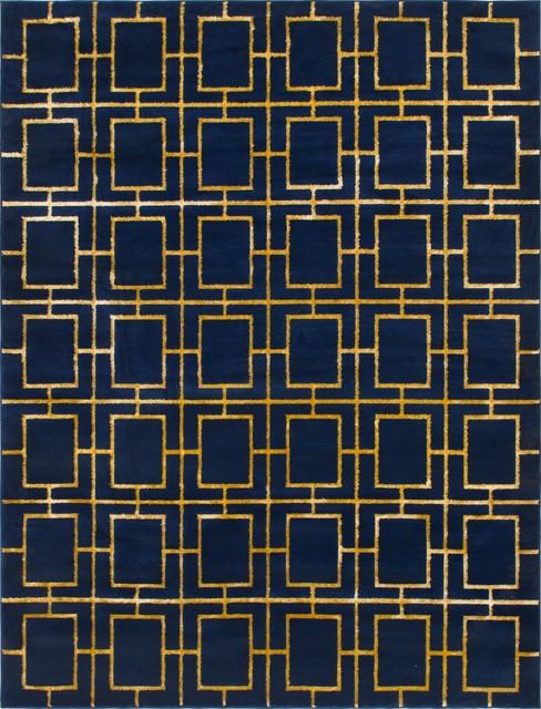 Marilyn Monroe Navy Blue/gold Deco Glam 8&x27; 0 X 10&x27; 0 Area Rug.