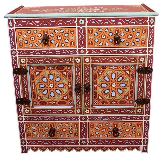 Moroccan Hand-Painted Wooden Cabinet, Red