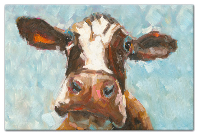 "Curious Cow 1 Canvas Wall Art, 24""x36"", Unframed."