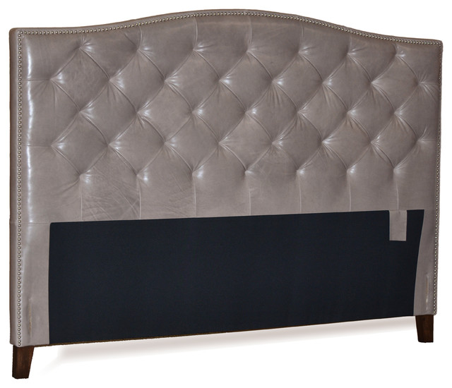Grey Genuine Leather Diamond Tufted Headboard With Pewter