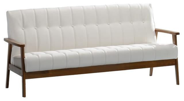 Aarhus Sofa, White Faux Leather