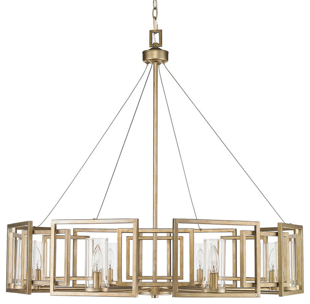 golden lighting chandelier. Marco 8Light Chandelier White Gold With Clear Glass Contemporary Chandeliers Golden Lighting