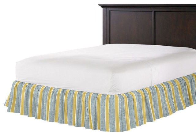 Teal and Yellow Stripe Ruffle Bed Skirt contemporary-bedskirts