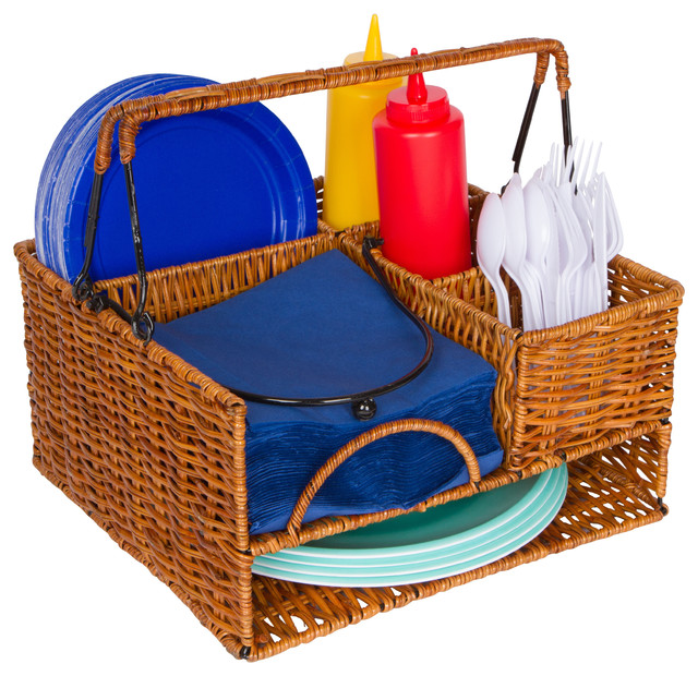 Rattan Tabletop Serveware And Condiment Organizer And Caddy  Contemporary Utensil Holders And