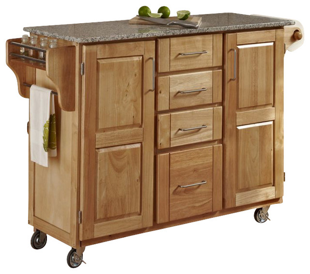 Gentil Home Styles Furniture Natural Wood Island Cart With Salt And Pepper Granite  Top