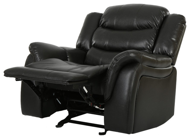 Delightful Hayvenhurst Black Leather Recliner/Glider Chair