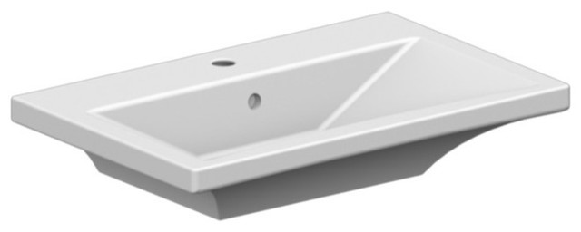 Rectangular White Ceramic Wall-Mounted Or Vessel Sink, One Hole.