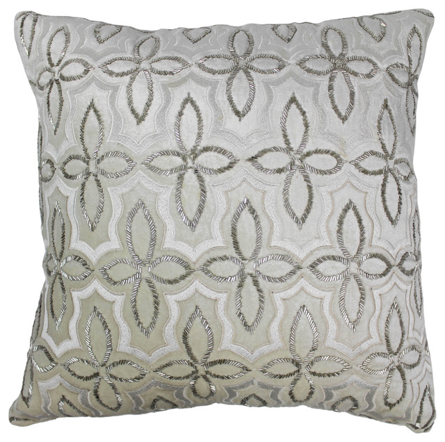 20 Moroccan Patterned Beaded Velvet Throw Pillow Silver Beads Ivory