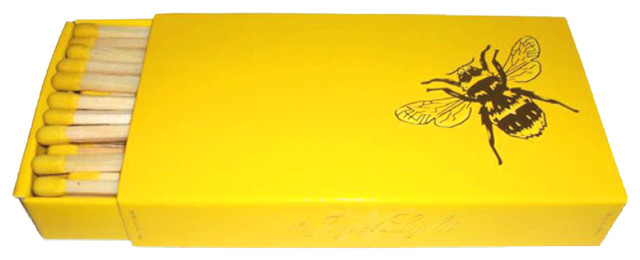 """The Joy Of Light Designer Matches Gold Bee On Yellow 4"""" Collectable Matchbox."""