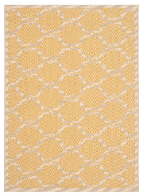"Safavieh Oceanside Rug, Yellow And Beige, 4&x27;x5&x27;7""."