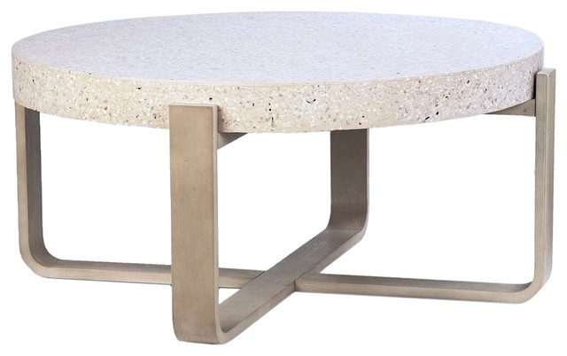 41 Cristian Coffee Table White Stone Top Round Wooden Natural Base