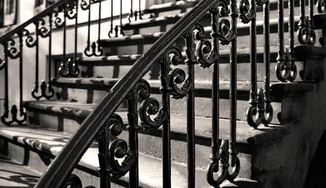 Decorative Iron Staircase Photograph, 16x24, Aluminum Print