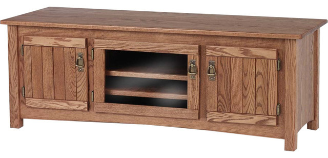 Solid Oak Mission Style Tv Stand With Cabinet Autumn