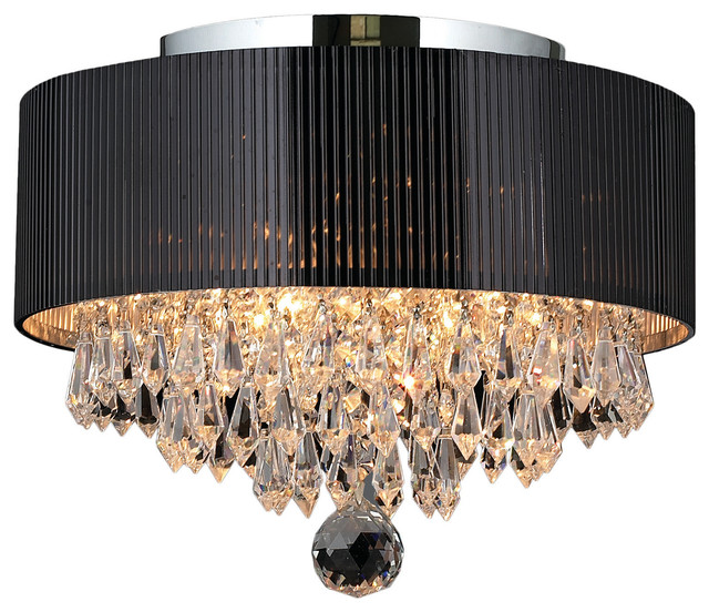 Captivating Gatsby 3 Light Crystal Flush Mount Ceiling Light With Black Drum Shade,  Chrome Contemporary