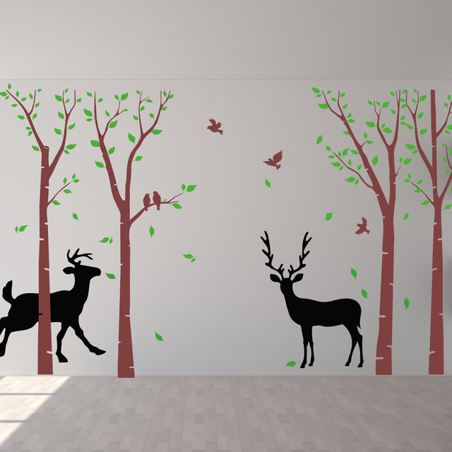 birch tree wall decals flying birds deer wall art nature wall decal ...
