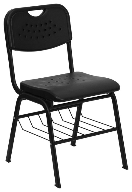 MFO 880 lb. Capacity Plastic Chair with Powder Coated Frame and Book Basket