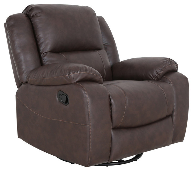 Gdf Studio Flora Classic Tufted Leather Swivel Recliner