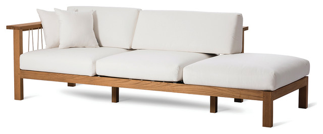 OASIQ MARO Chaise Lounge With Decorative Pillows, Canvas Natural, Left Arm by OASIQ
